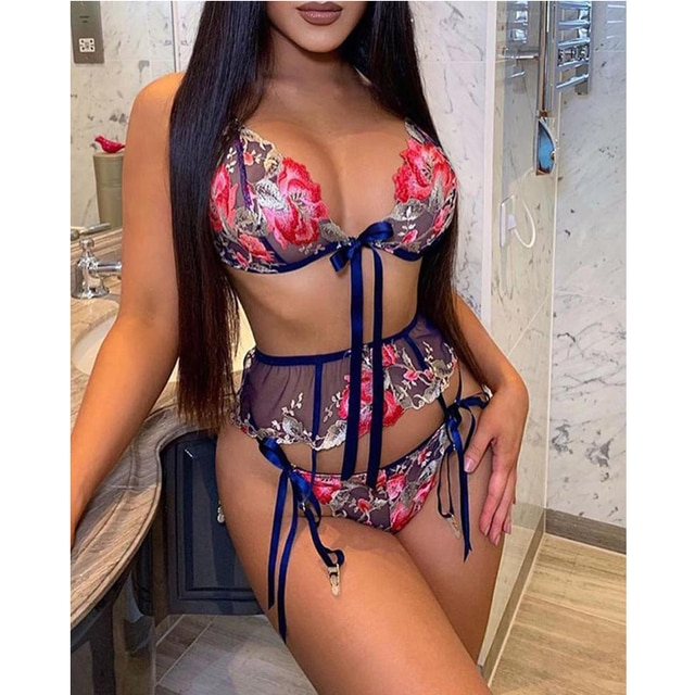 Women Embroidery Lace Bralette Push Up Wireless Bra Mujer Seamless Underwear Sexy Lingerie Backless See-through Nightwear 4