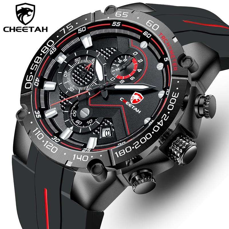 Reloj CHEETAH de marca superior, reloj de pulsera informal de negocios, correa de silicona de lujo a la moda, reloj deportivo resistente al agua, reloj Masculino