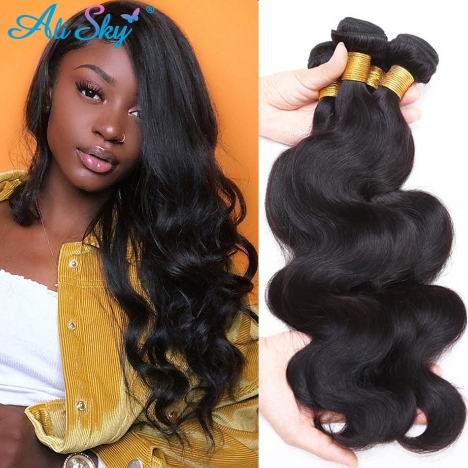 Ali Sky Hair 4 Bundle Deals Hair Extensions Human Hair Bundles Body Wave Bundles 100% Peruvian Hair