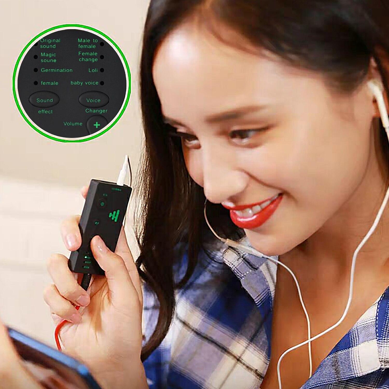 Mini cambiador de voz Besegad, dispositivo USB recargable con 7 efectos de sonido para teléfonos móviles, ordenadores, tabletas, portátiles, dispositivos de juego