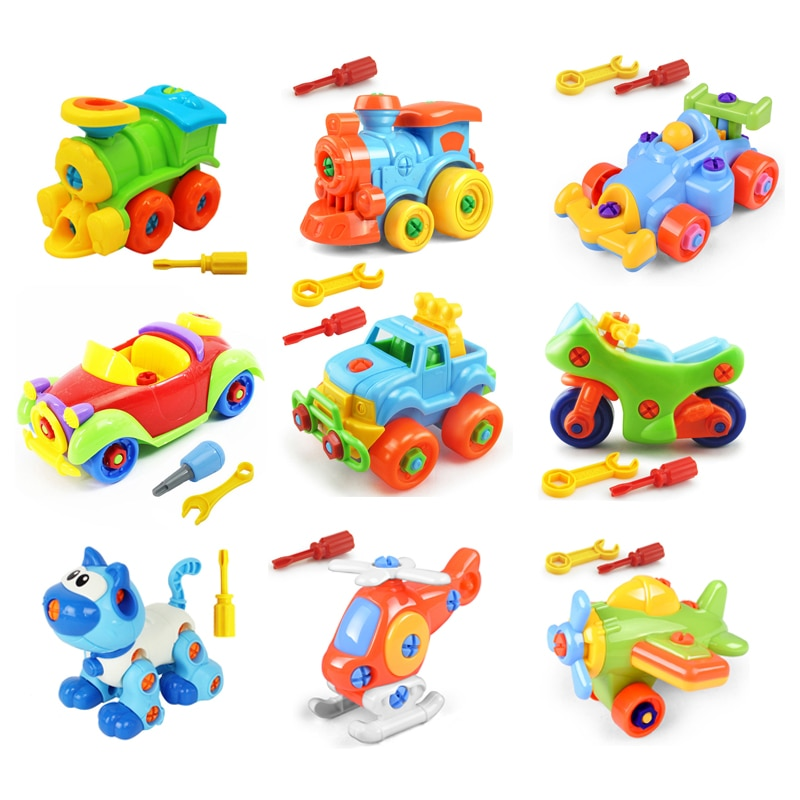 Plastic Screw Nut Assembling Disassembly Car Building Blocks Kids Montessori Toys Educational Puzzle Disassembly Motorcycle Toys