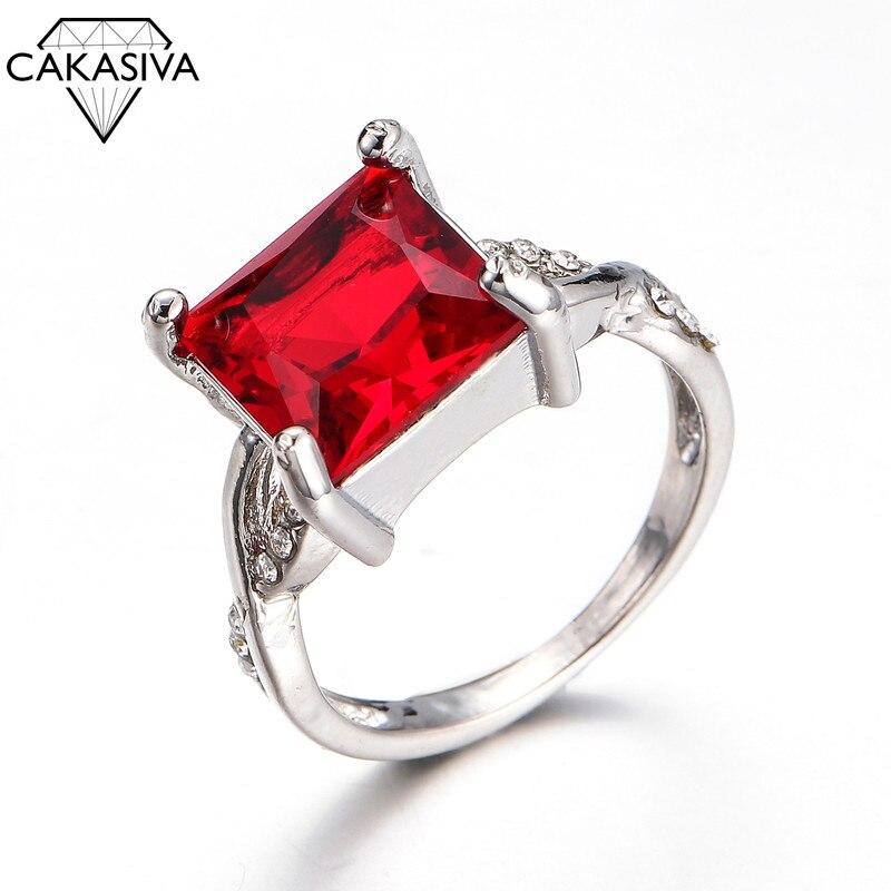 925 Серебряное кольцо из циркона простое рубиновое кольцо для женщин, Подарок на годовщину свадьбы или помолвки