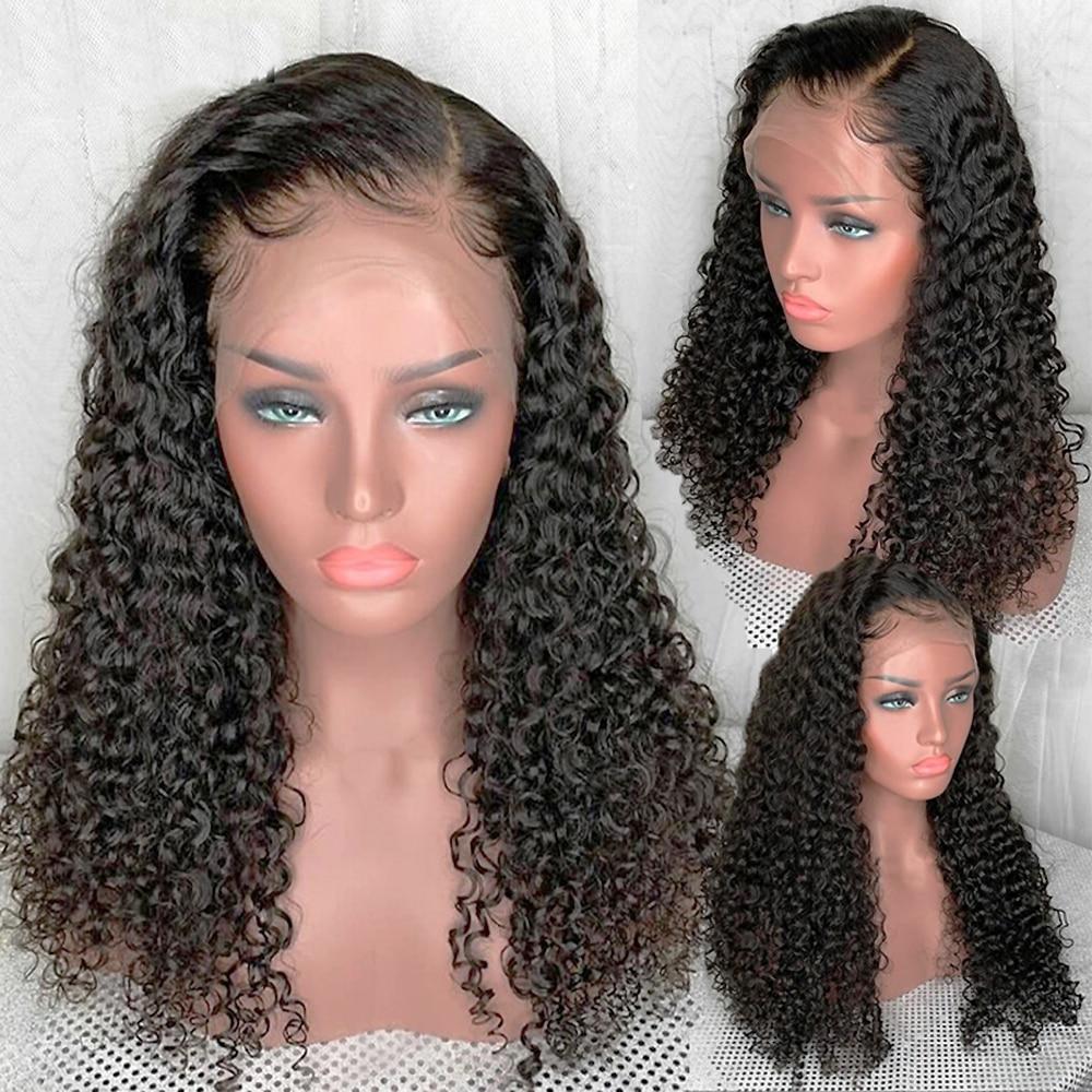 Lace Front Human Hair Wigs for Black Women  curly human hair Wig Transparent Lace Frontal closure Wigs  Brazilian black wig