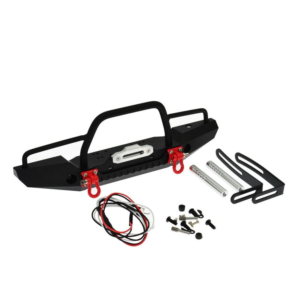 RC Car Meta Steel Front Bumper with Tow Hook for 1/10 RC Crawler SCX10 TRX4 SCX10 II 90046