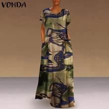 Grande taille femmes à manches courtes robe VONDA femme décontracté coton Vintage imprimé robe bohème été plage Sundress grande taille