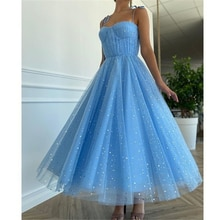 Blue Princess Prom Dress Sparkly Starry Sequins Tulle Spaghetti Strap Prom Gowns Pleated Tea-Length