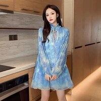 coigarsam full sleeve women dress new summer chiffon floral print dresses sky blue 8548