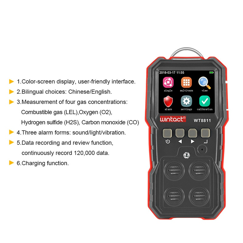 WINTACT Compound Gas Monitor Multi Rechargeable 4 In 1 Digital Combustible O2 H2S CO Gas Sensor Vibrating Light Alarm Detector enlarge