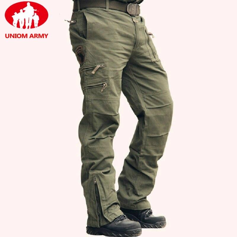 Calças de carga dos homens do exército estilo militar calças táticas masculino camo jogger plus size algodão muitos bolso camuflagem calças pretas