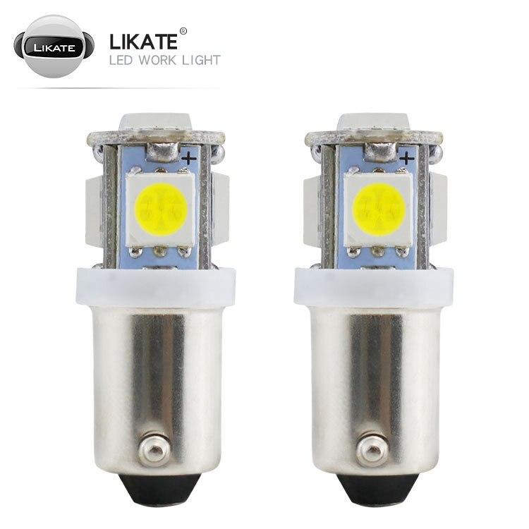 Автомобильная светодиодная приборная лампа LKT Ba9s 5smd 5050, яркая автомобильная светодиодная лампа с широким индикатором, приборная лампа, ламп...