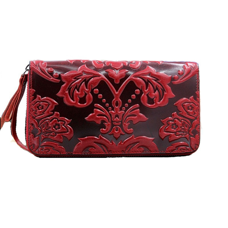 genuine leather purse women floral womens leather purses long cow leather women wallets large capaci