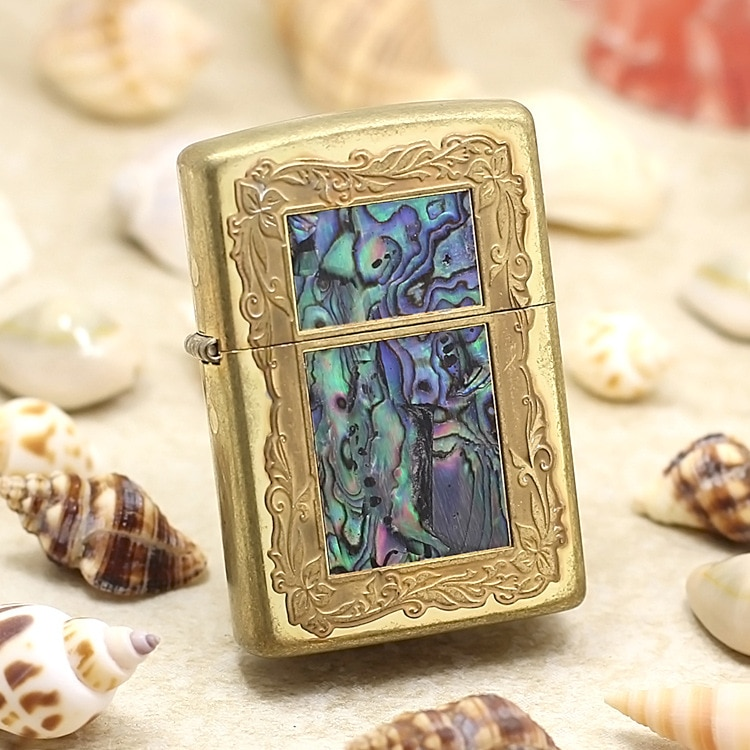 Genuine Zippo oil lighter copper windproof Mosaic shells Photo frame cigarette Kerosene lighters With anti-counterfeiting code
