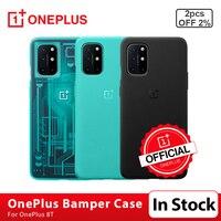 100% Оригинальный чехол OnePlus 8 T из песчаника, карбоновый чехол из бамбука, защитный чехол, чехол, 3D закаленное стекло, Защита экрана для OnePlus 8 T 8 ...