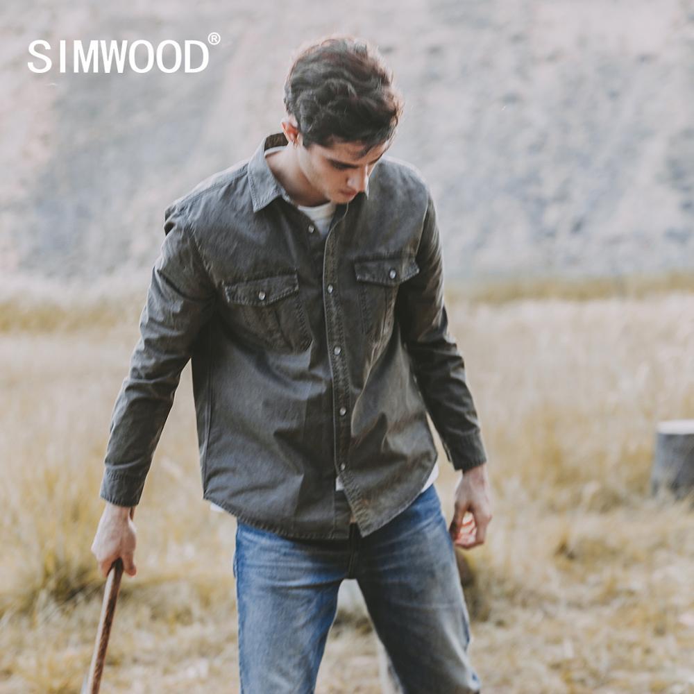 Simwood 2021 primavera 100% algodão vintage overshirt men vestuário tingido estilo ocidental camisas plus size carga roupas militares