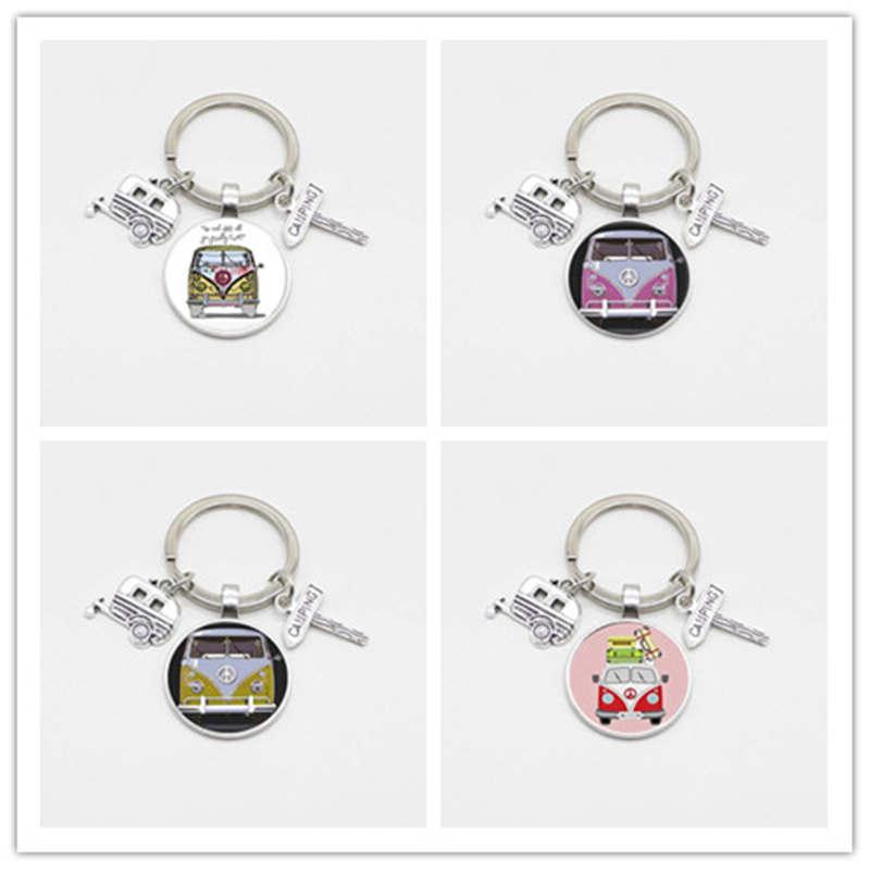 New retro peace card Van Bus road sign keychain glass pendant fashion men and women bag car pendant key ring jewelry