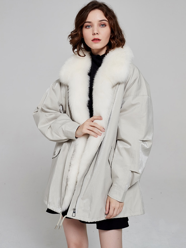 Luxury Real Fur Jackets Women Winter Coat Detachable Rex Rabbit Fur Linner Fox Fur Collar Thick Warm Women Parkas Oversized