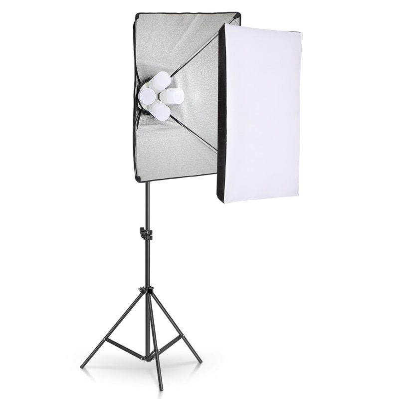 Photo Studio 4pc LED 15W Softbox Kit Photographic Lighting Kit Camera Photo Accessories 1pc Light Stand 1pc Softbox for Shooting