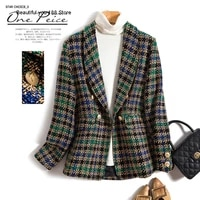 womens high end autumn and winter plaid long sleeved slim suit short coat