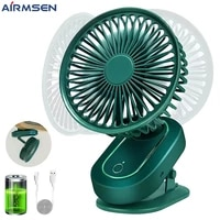 airmsen desk clip fan portable usb rechargeable silent fan 3 speeds air conditioning fan for office dorm and bedroom cooler