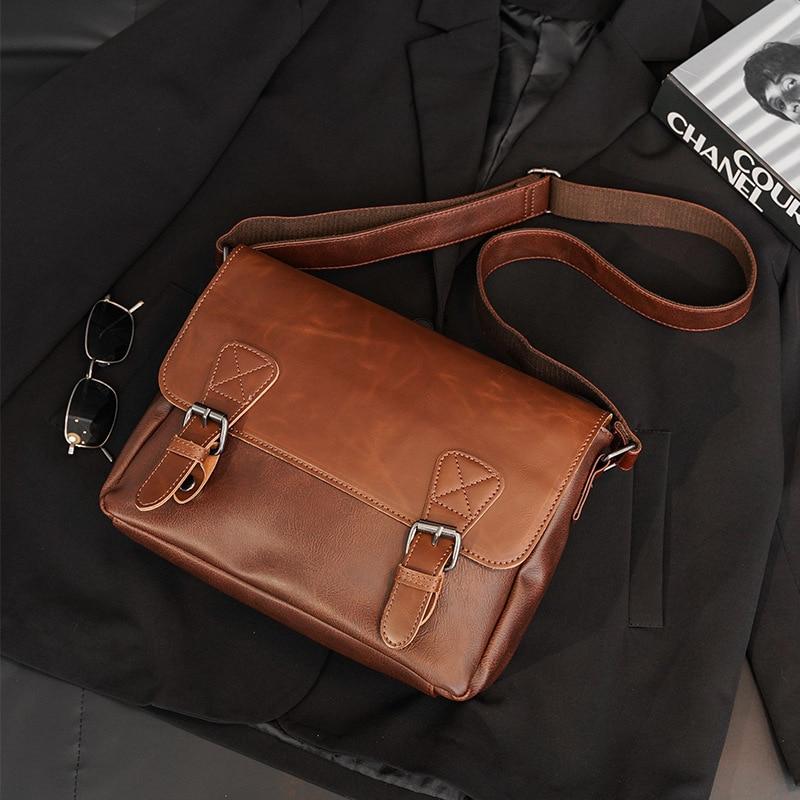 Versatile Hasp Brown Men Messenger Bag Vintage Shoulder Crossbody Bags For Men Classic Leather Male