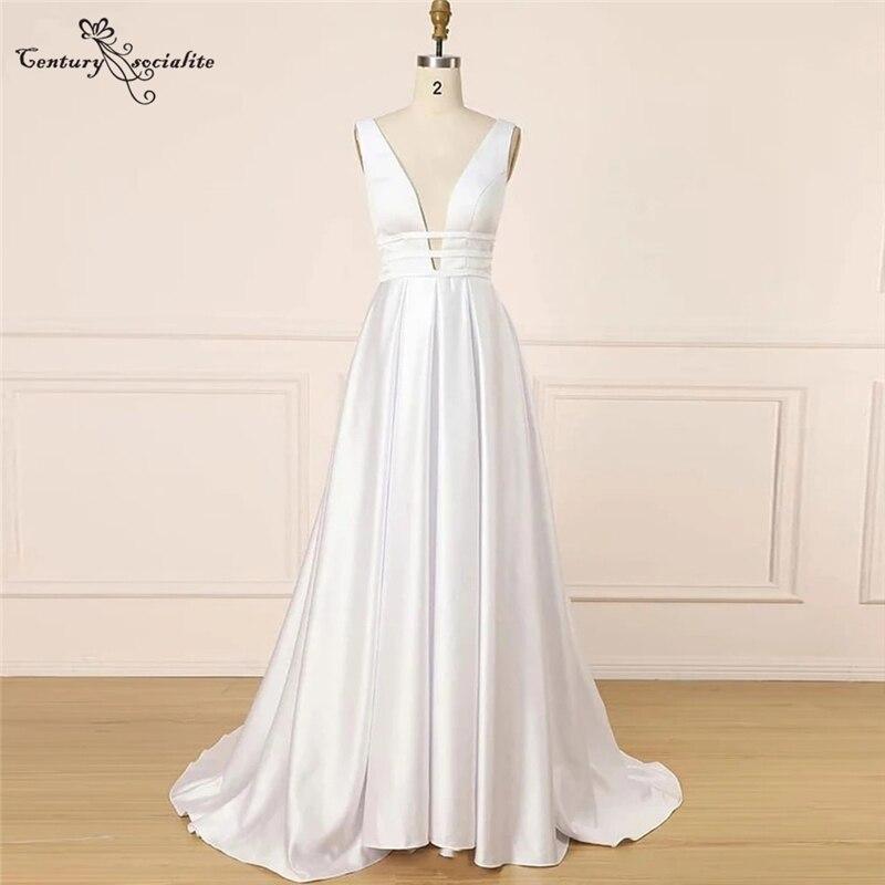 Женское атласное свадебное платье, простое ТРАПЕЦИЕВИДНОЕ платье невесты с глубоким V-образным вырезом и открытой спиной, дешево, 2021
