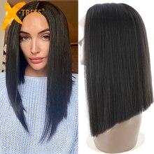 Parrucche sintetiche del merletto dei capelli di colore marrone medio X-TRESS ad alta temperatura della fibra di Yaki