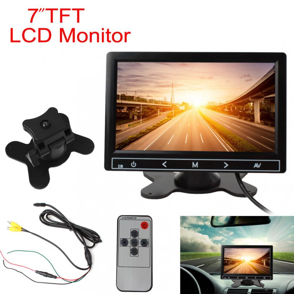 TFT de 7 pulgadas en Color LCD vista trasera de coche VCR Monitor RGB pantalla Digital 2 entrada de vídeo Auto retrovisor Monitor de estacionamiento de respaldo