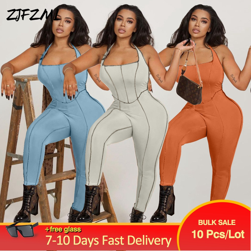 Bulk Items Wholesale Lots Striped Bodycon Halter Women Long Jumpsuits Skinny Backless Sleeveless Workout Sportswear Overalls
