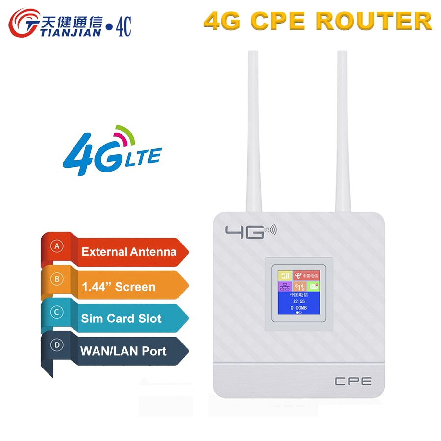 TIANJIE CAT4 LTE 3G/4G CPE SIM Card mobile wifi hotspot Routers For IP Camera/Outside WiFi Coverage 4g router external antenna