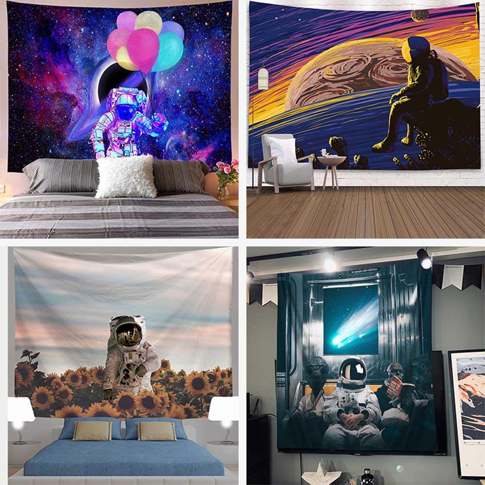 Tapiz psicodélico de Galaxia con diseño de astronauta, tapiz de pared colgante de Planeta, decoración de Galaxia, tapiz decorativo para el hogar