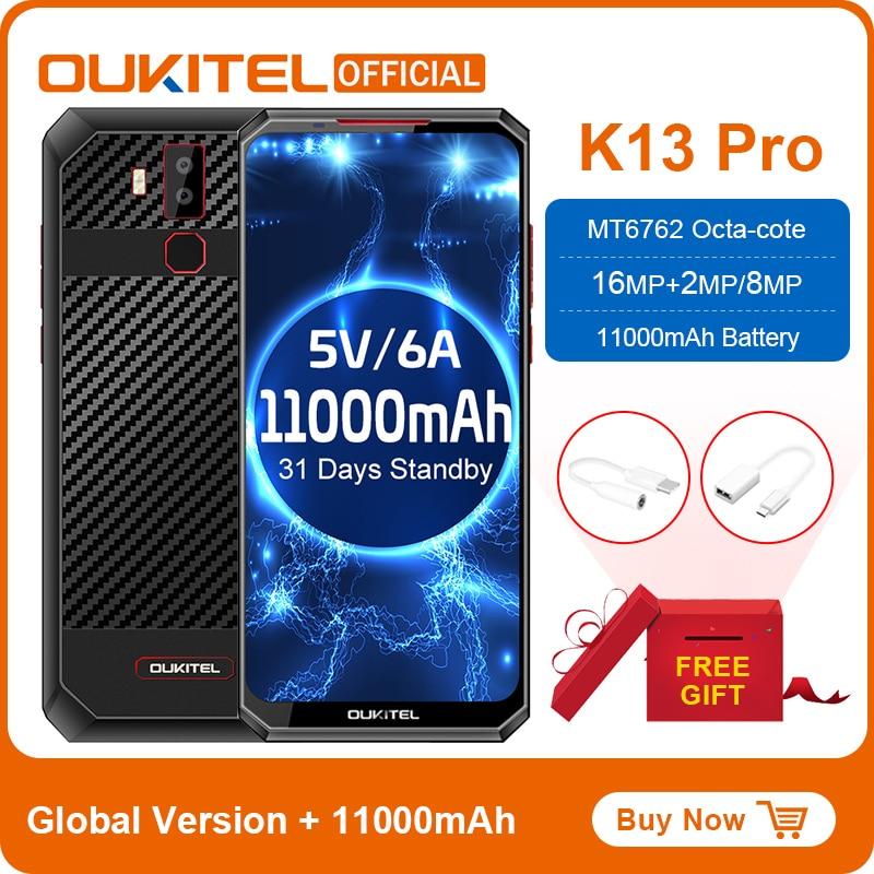"""OUKITEL K13 Pro Android 9.0 Mobile Phone 6.41"""" 19.59 Screen MT6762 4G RAM 64G ROM 5V/6A 11000mAh OTA NFC Fingerprint Smartphone"""