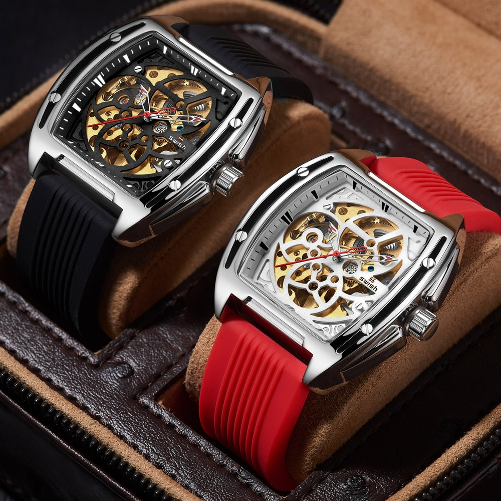 SWISH 2021 Fashion Automatic Skeleton Wristwatch Casual Mechanical Watches for Men Sports Tourbillon Clocks with Silicone Strap