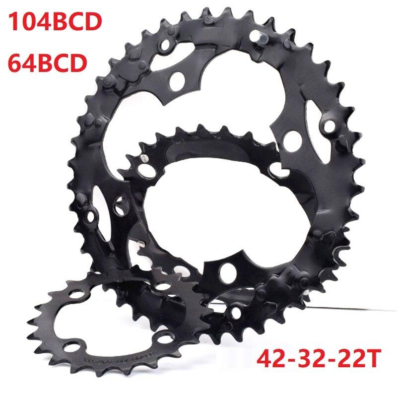 Bicicleta de Montaña 22T 64 BCD 32T 42T 104 BCD 8/9 cadena para bicicleta de velocidades rueda cigüeñal piezas de reparación motoanillo piezas de repuesto 24/27 velocidad