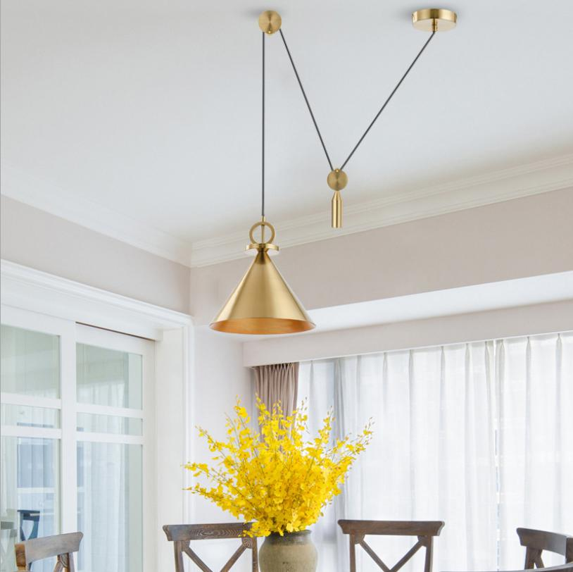 Lámpara colgante de polea de estilo nórdico para restaurante, lámpara colgante dorado claro para barra de elevación, lámpara de noche retráctil moderna, accesorio de lámpara