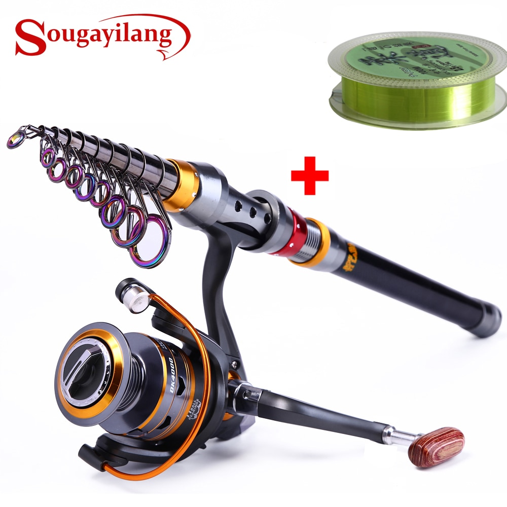 Sougayilang 1.8-3.6m Telescopic Fishing Rod and 11BB Reel Wheel Portable Travel Spinning Combo