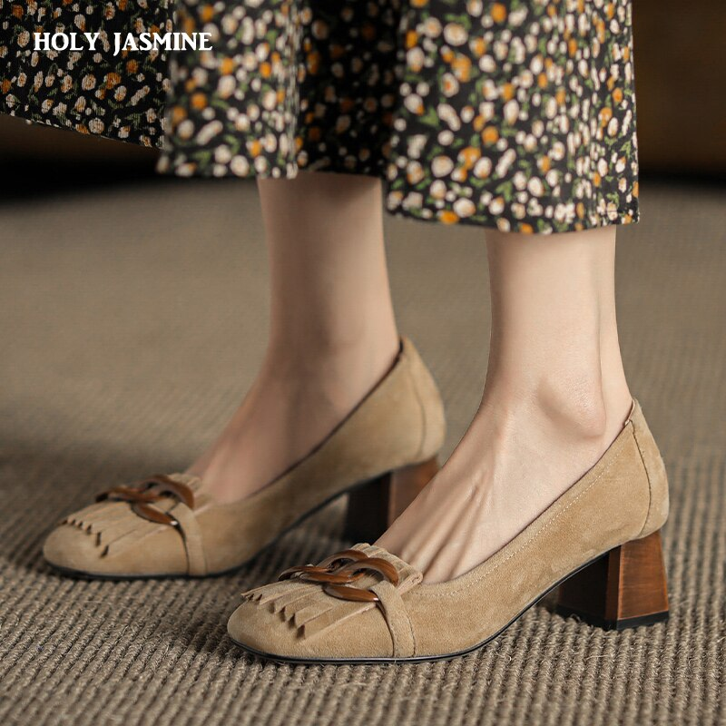 Genuine Leather Shoes for Women 2021 Spring Thick Heels Square Toe Pumps Female Shallow Fashion Working Casual Shoes Woman Heel