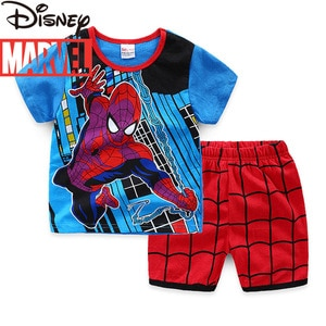 Original Disney Marvel Cotton Children's Short-sleeved Pajamas Two-piece Boy Pajamas Home Service Costumes for Kids