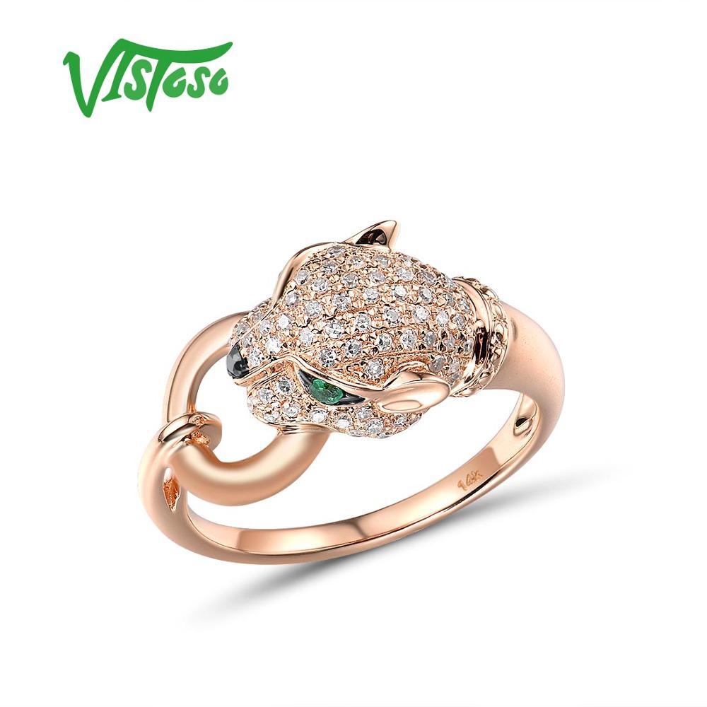Женское золотое кольцо VISTOSO, настоящее кольцо леопард из розового золота 14 к 585 пробы с изумрудом и сверкающими бриллиантами, ювелирные украшения на годовщину помолвки