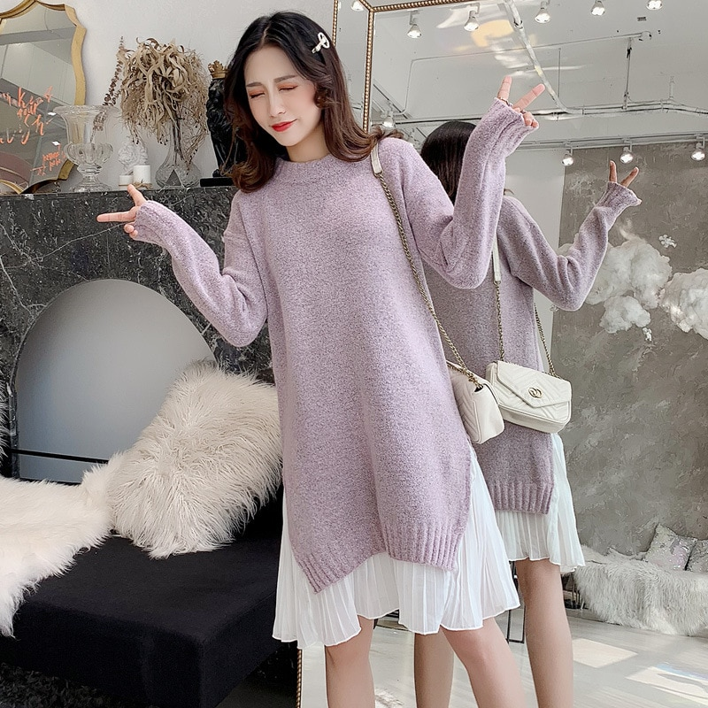 Pregnancy Clothes Sweater Dress Patchwork Thick Winter Knitted Ruffle Maternity Gown Pullover Full Sleeve Dresses for Women enlarge