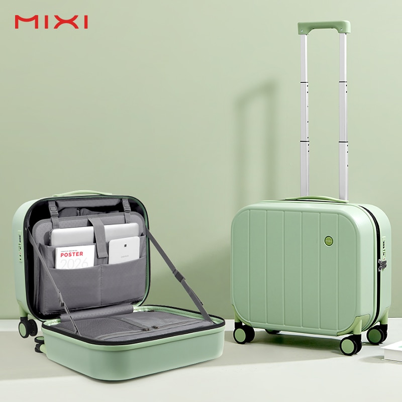 Mixi Patent Design Carry On Suitcase Short Trip Travel Luggage Trolley Case Cabin 100% PC Material 16 18 Inch