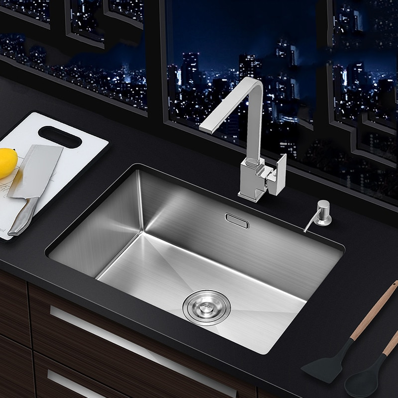 Undermount 304 Stainless Steel Kitchen Sink Single Bowl Basin Vegetable Washing For Kitchen Fixture Home Improvement 304 stainless steel rose gold kitchen sink undermount manual sink single sink with plate kitchen bowl set steel