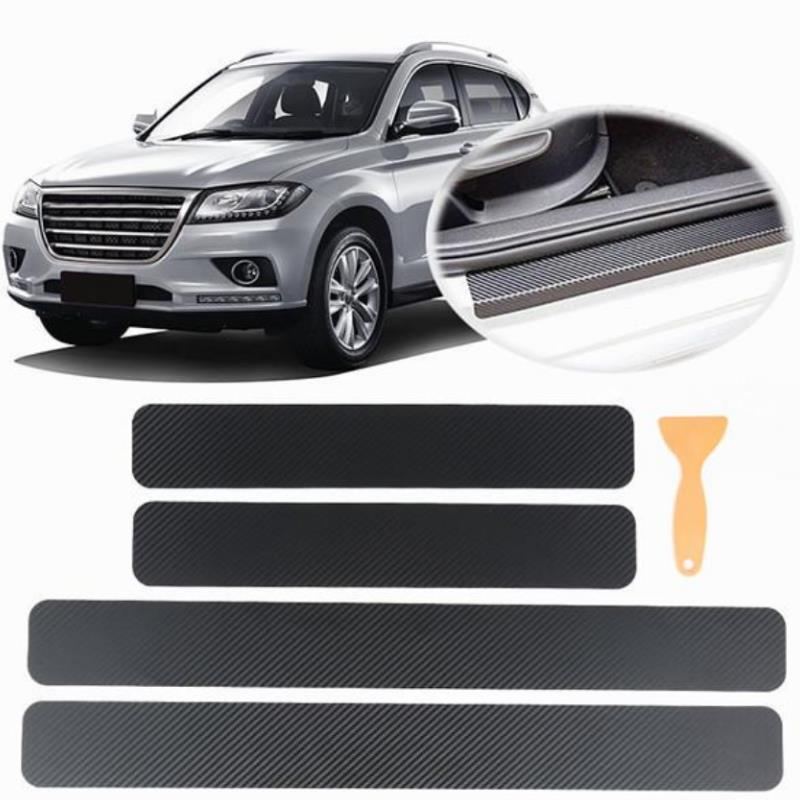 4Pcs Car Door Sill Protector Door Sill Scuff Plate Stickers For Ford Focus Kuga Fiesta Ecosport Mondeo Escape Explorer Edge