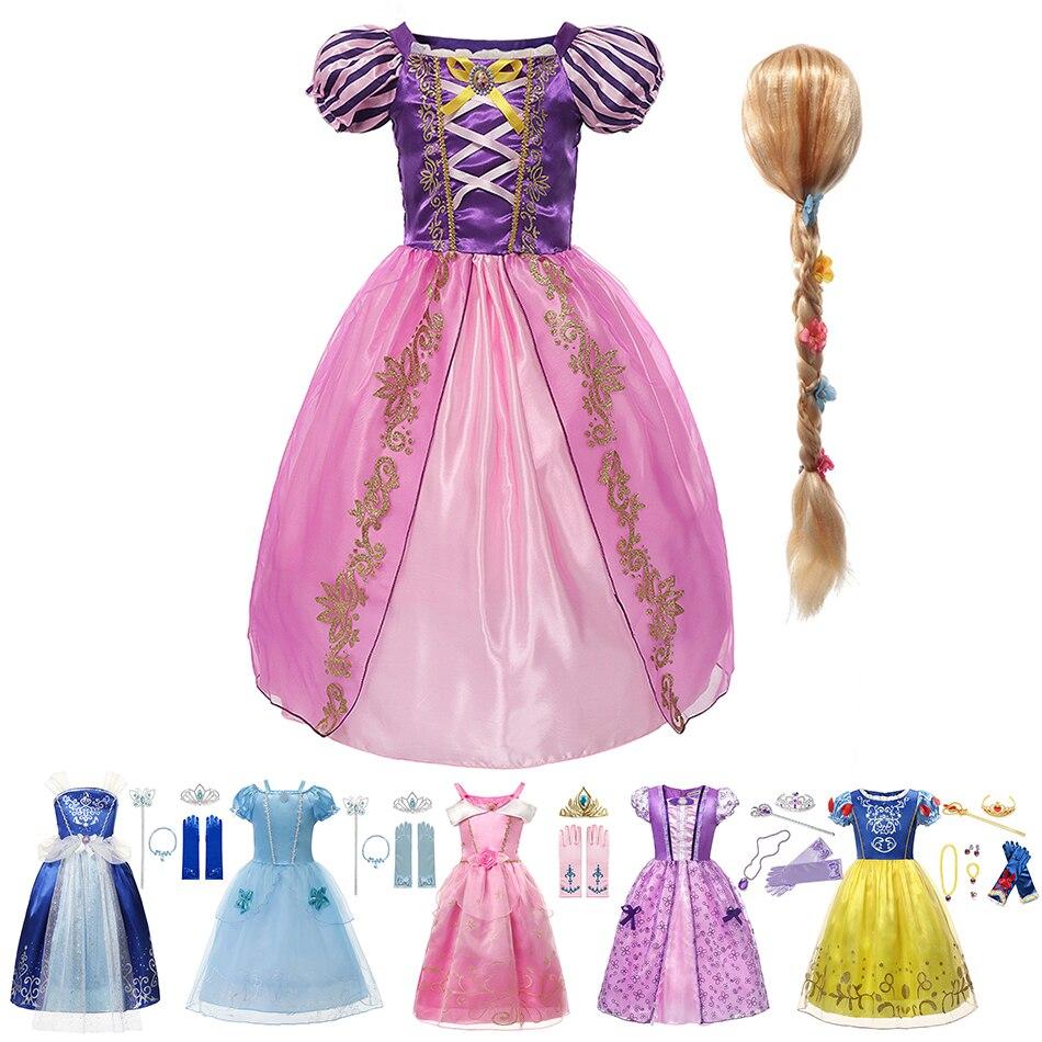 Disney Girls Rapunzel Princess Dress Costume for Girl Kids Cosplay Sofia Vestidos Gown Children Christmas Party Clothing 2-8 Yrs