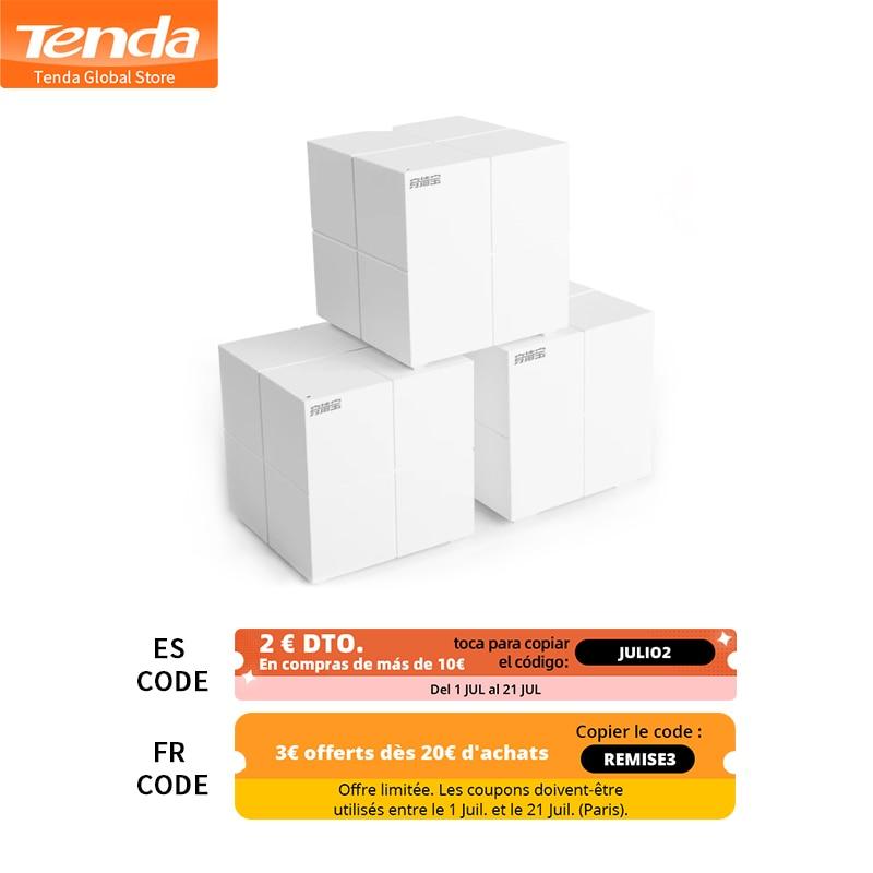 Tenda MW6 Nova-نظام شبكة wi-fi لاسلكي ، للمنزل بالكامل ، 11AC 2.4G/5.0GHz ، WiFi ، موجه لاسلكي ومكرر ، إدارة التطبيق عن بعد