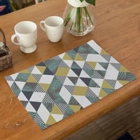 fuwatacchi geometric pattern placemat dining table mat drink coaster cotton linen pad cup mat home decor kitchen bowl coaster