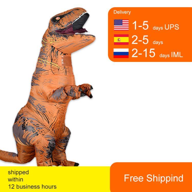 T Rex Velociraptor Inflatable Costume Mascot Cosplay Tirano Saurio Rex Dino Halloween For Women Men Kid Cosplay Funny Suit