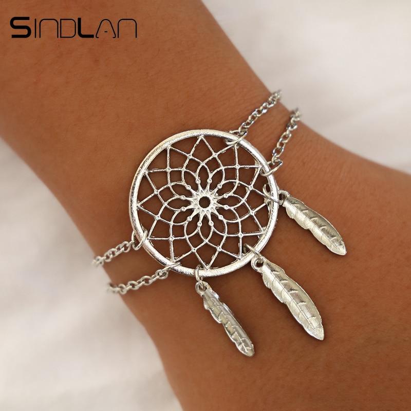 Sindlan короткий стиль полый цветок перо браслеты для женщин девушек Ловец снов простой браслет дружбы браслет ювелирные изделия
