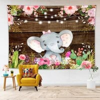 cute animal elephant wall hanging tapestry vintage wooden board wall blanket cloth childrens room decor tapestry beach towel