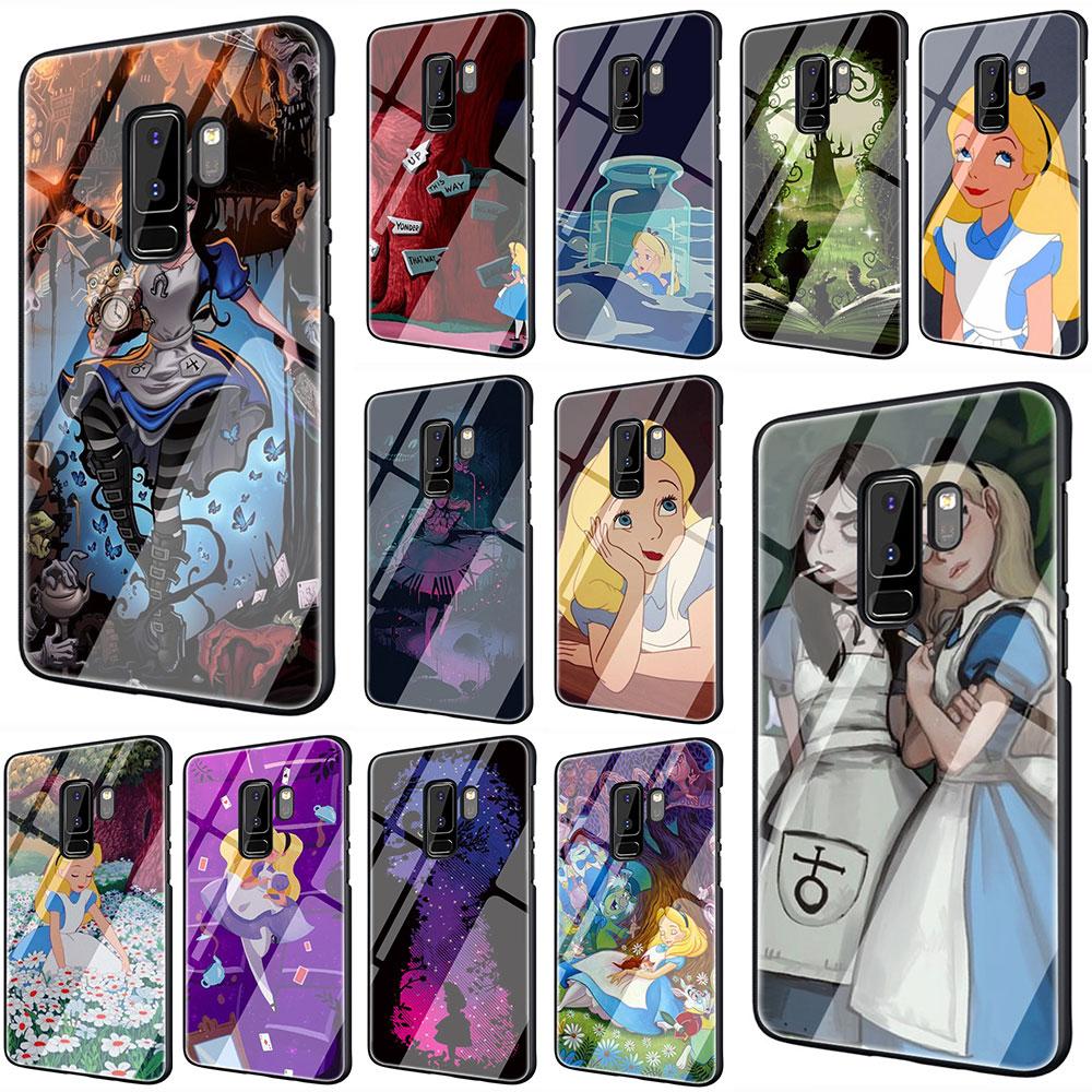 EWAU Alicia en el país de las maravillas de templado de vidrio de cubierta del teléfono cubierta para Galaxy S7 borde S8 9 10 Plus Nota 8 9 10 A10 20 30 40 50 60 70