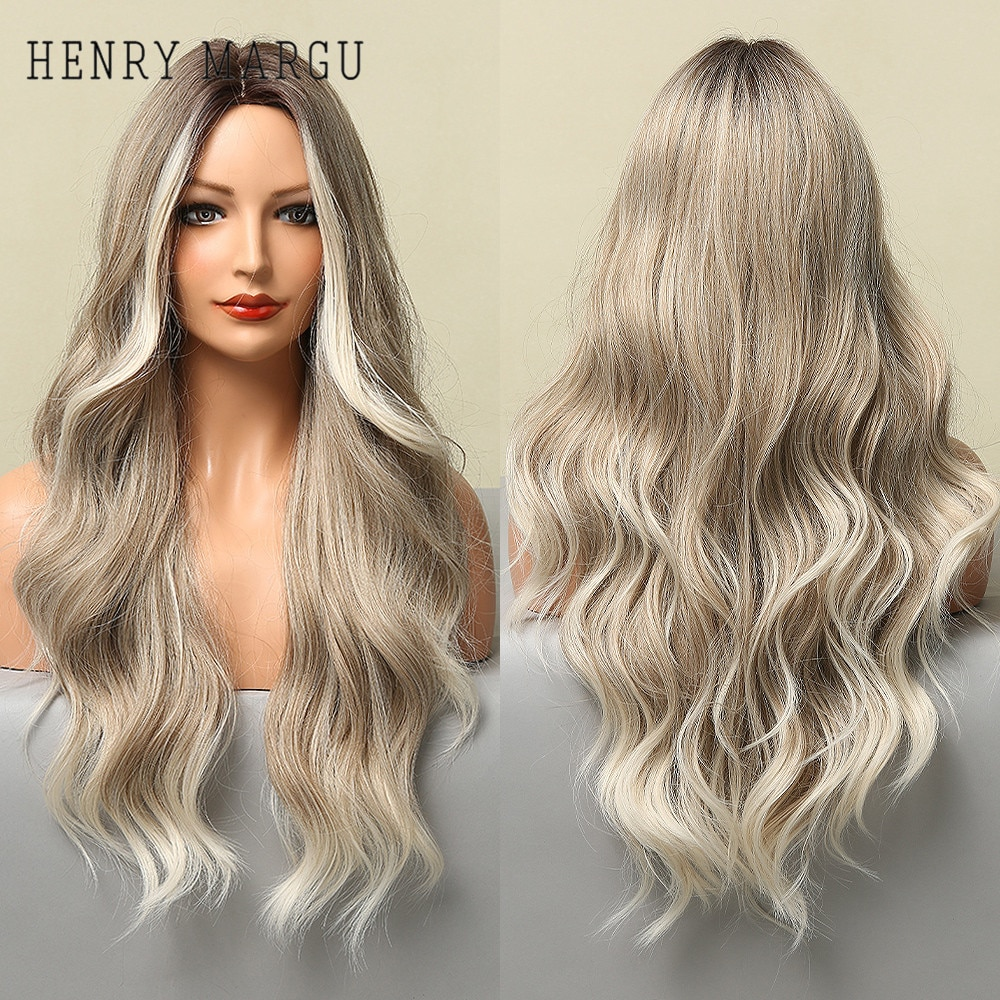 HENRY MARGU Long Ombre Brown Light Ash Platinum Blonde Wavy Wigs Cosplay Party Synthetic Wig for Women High Temperature Fibre